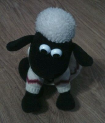 """Aardman 1989 Wallace And Gromit Shaun The Sheep In Jumper 8"""" Baaing Soft Toy"""