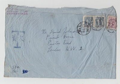 China Old Cover Yuen Ming Yuen Road Shanghai To London Postage Due 1943 !!