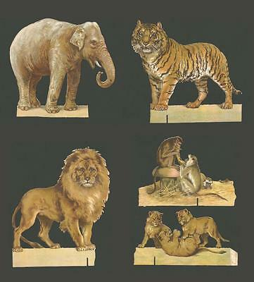 P32 - VERY LARGE DIECUT EDWARDIAN SCRAPS or STANDEES - WILD ANIMALS - OBLATEN
