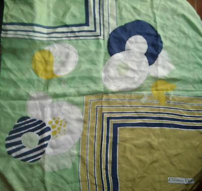 Vintage 60s Christian Dior Authentic Silk square scarf