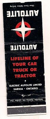 Electric Autolite Limited Sarnia ON Ontario Matchcover 021817