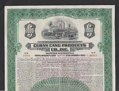 1930 CuBN Cane Products Co. $1000 GOLD BOND ABNC