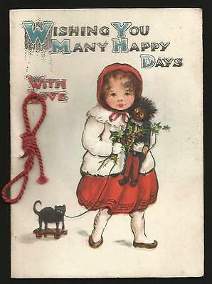 P55 - Girl With Toy Cat And Doll - Vintage Folding Xmas Card