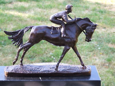 Wonderful Pure Bronze Horse And Jockey Racehorse Statue