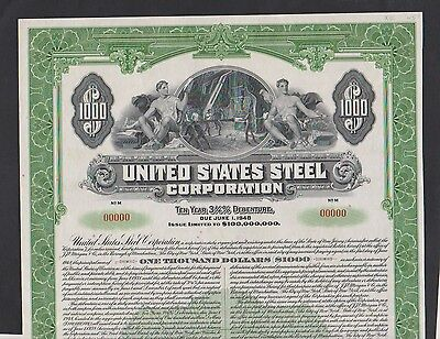 1938 United States Steel Crporation $1000 GOLD BOND Specimen ABNC