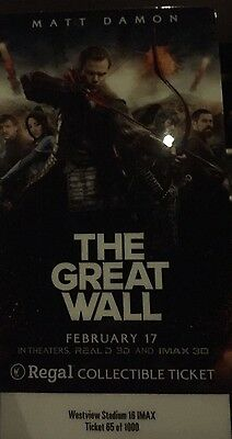 Great Wall - Matt Damon IMAX First Showing Experience Collectible Ticket Regal