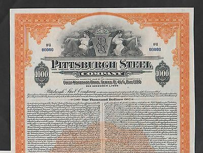 1941 Pittsburgh Steel Company $1000 GOLD BOND Specimen ABNC
