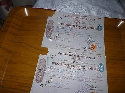 1937 Two Old Westminster Bank Cheques