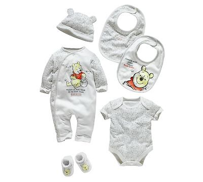 Disney Winnie the Pooh 6 Piece baby Gift Set - Newborn . sleep / day suit, hat,+
