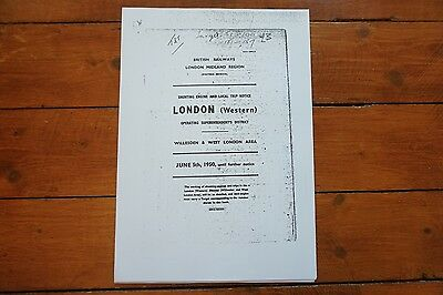 1950 Fascimilie Willesden West London Shunting Loco Local Trip Notice Timetable