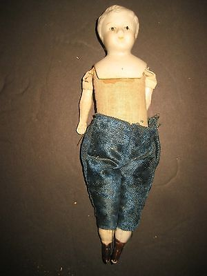 """Early Made In Japan 8"""" Bisque Head Boy Doll With Cloth Body"""