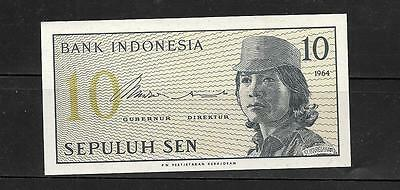 INDONESIA #92a 1964 UNUSED MINT OLD 10 SEN BANKNOTE BILL NOTE PAPER MONEY