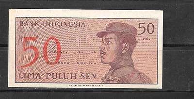 INDONESIA #94a 1964 OLD MINT-CRISP 50 SEN BANKNOTE NOTE PAPER MONEY CURRENCY