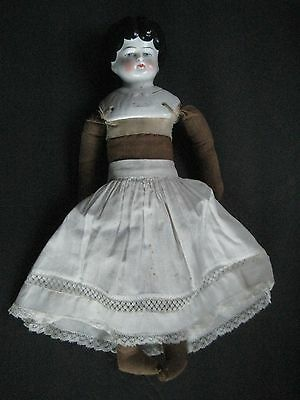 "Antique German 13"" China Head Doll ""helen"" With Cloth Body,hands & Feet"