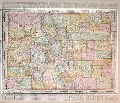 1895 Colorado Antique Dated Color Atlas* New Mexico map on back..122 years old!