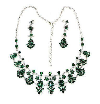 Necklace Earrings Set Emerald Color Green Floral For Wedding Party Prom Q379