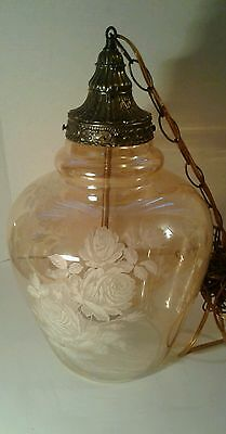 Vintage Victorian Light Fixture Antique Pendant Lamp Light Amber Frosted Glass