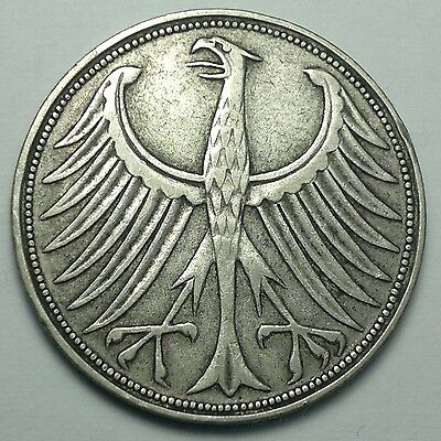 1951 Germany 5 Mark silver coin, German