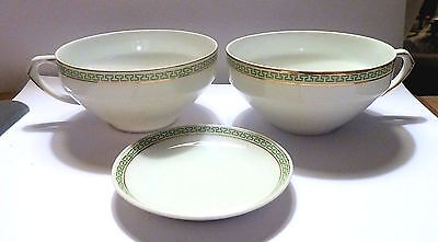Two TEACUPS & Butter Pat SELB H & Co. Bavaria Germany Electra Pattern