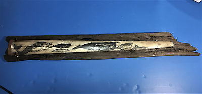 Scrimshaw Swordfish Bill,mermaids & Whales,signed Freehand Original 1 Of A Kind