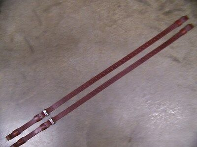 LEATHER LUGGAGE STRAPS for LUGGAGE RACK/CARRIER~~2 STRAP SET~BURGUNDY~SS BUCKLE