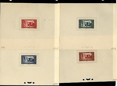 Maroc French Morocco B36 FOUR  SCARCE Trial color proofs Sunk on Cards