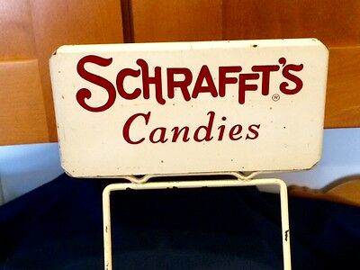 Old Schrafft's Candy Candies Store Counter Mercantile Display W Tin Sign Boston