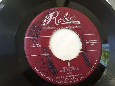 THE VELVETS I/At Last RED ROBIN 122 ORG Doo Wop 45 VG