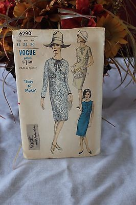 Vintage Vogue Young Fashionables Pattern 6290 ca 1964 Semi Fitted Dress Size 14