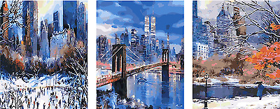"20X47""DIY Paint By Number Kit Three Parts Oil Painting On Canvas Scenery SPA1258"