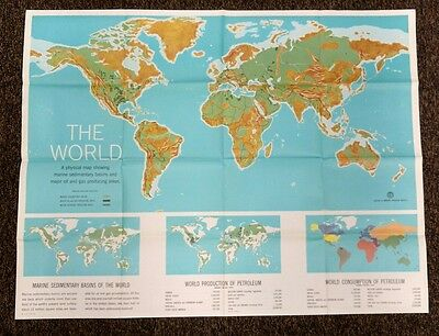 vtg American Petroleum Institute Classroom Map THE WORLD 1960 Gas/Oil Producing