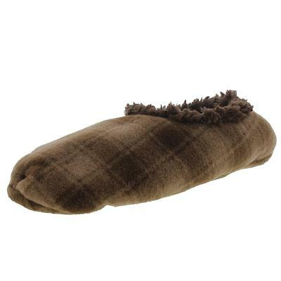 Snoozies 2206 Mens Brown Fleece Lined Plaid Slip-On Slippers 11-12 BHFO