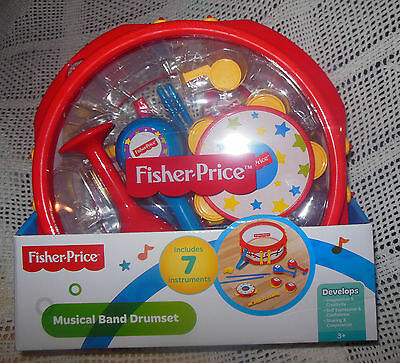 Fisher Price Musical Band Drum Set NEW 7 Instrument Set