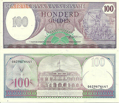 H-11-3, SURINAME,100 GULDEN (1st Nov 85) P-128,UNCIRCULATED   LAST ONE