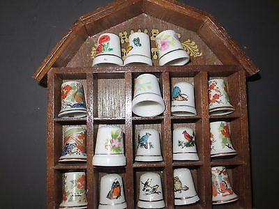 VTG Wood House Rack with Porcelain THimble Collection