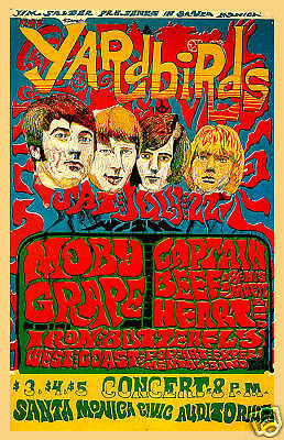 Jimmy Page & Jeff Beck & The Yardbirds at Santa Monica Civic Concert Poster 1968