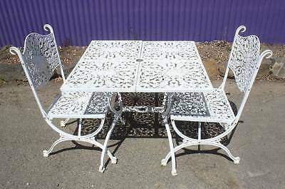 A White Garden 3 Piece Setting - Cast Metal - Outdoor - Shabby Chic