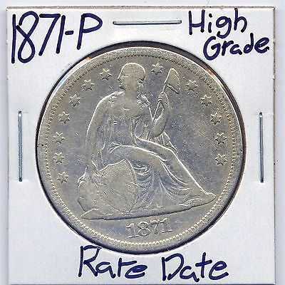 1871-P Seated Liberty Silver Dollar US Mint Rare Date Silver Coin High Grade 90%