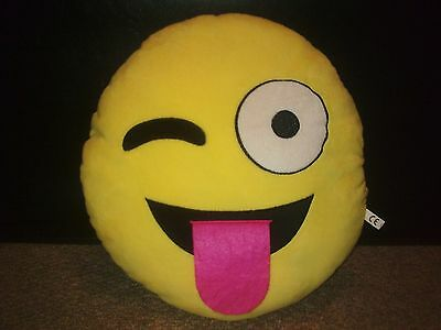 Emoji face cushion - Yellow with winking eye and stick out tongue!! -