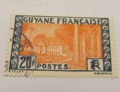 French Guiana 1929 vermilion and blue 20fr used