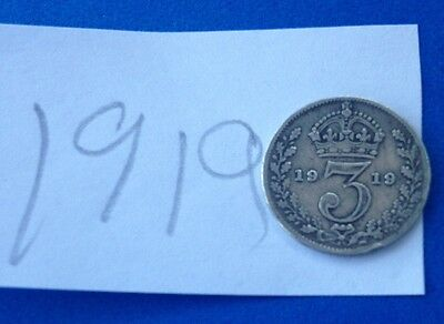 1919 Silver King George V Threepence Coin