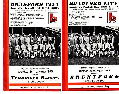 1975-1976 Bradford City  Home Programmes - select the one you want