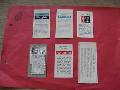 6 Vintage Players Cigarette Packet Inserts