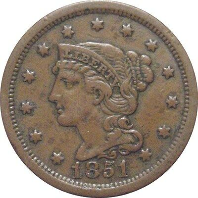 1851 Braided Cent--Attractive VF/XF
