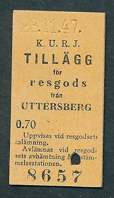 QY3058d SWEDEN KURJ ticket from Uttersberg 1947