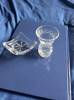 """2 Pieces Cavan Crystal Vase 3.3"""" Tall DISH 3"""" Square Clearly Stamped VGC NO BOX"""