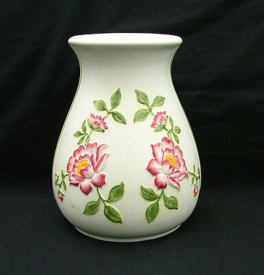 E Radford pottery hand painted baluster vase with embossed flowers 1237