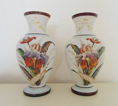 Pair LARGE Victorian Bristol Glass Vases Hand-Painted Orchids Flowers English