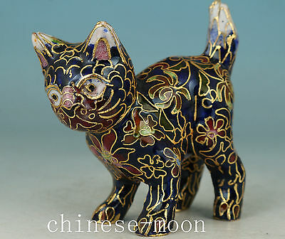 Lucky Chinese Old Cloisonne Handmade Carved Cat Statue Figure Ornament
