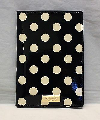 Kate Spade Imogene Carlisle Street Passport Holder Case - Black w/ Cream Dots